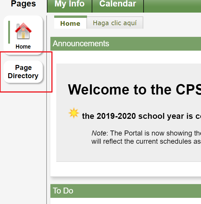Page Directory button